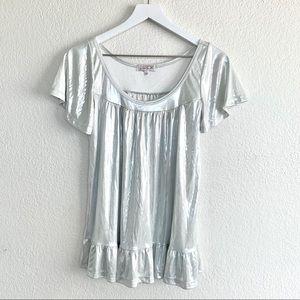 LARok Silver Metallic Ruffle Flutter Sleeve Top